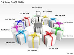 2513 3d Man With Gifts Ppt Graphics Icons Powerpoint