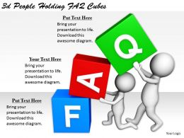 2513 3d People Holding FAQ Cubes Ppt Graphics Icons Powerpoint