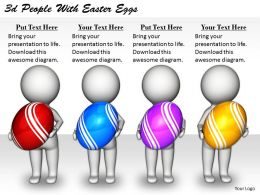 2513 3d People With Easter Eggs Ppt Graphics Icons Powerpoint