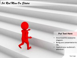 2513 3d Red Man On Stairs Ppt Graphics Icons Powerpoint