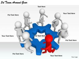 2513 3d Team Around Gear Ppt Graphics Icons Powerpoint