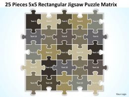 25 Pieces 5x5 Rectangular Jigsaw Puzzle Matrix Powerpoint templates 0812