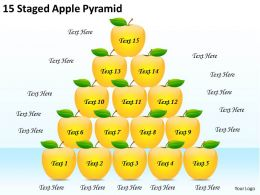 2613 Business Ppt diagram 15 Staged Apple Pyramid Powerpoint Template