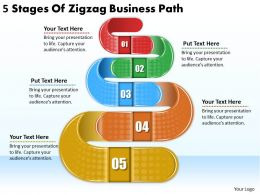 2613 Business Ppt diagram 5 Stages Of Zigzag Business Path Powerpoint Template