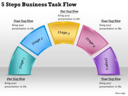 2613 Business Ppt diagram 5 Steps Business Task Flow Powerpoint Template