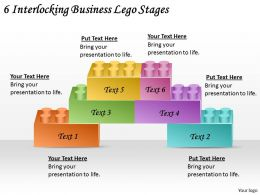 2613 Business Ppt diagram 6 Interlocking Business Lego Stages Powerpoint Template