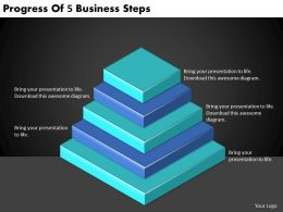 2613 Business Ppt diagram Progress Of 5 Business Steps Powerpoint Template