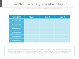 2 6 3 5 Brainwriting Powerpoint Layout