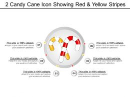 2 Candy Cane Icon Showing Red And Yellow Stripes