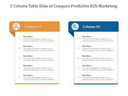 2 Column Table Slide Of Compare Predictive B2b Marketing Infographic Template