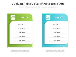 2 Column Table Visual Of Provenance Data Infographic Template