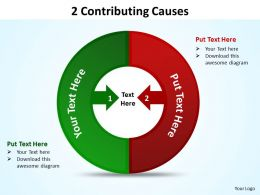 2 contributing causes powerpoint diagrams presentation slides graphics 0912