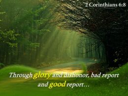 2 Corinthians 6 8 Through Glory And Dishonor Powerpoint Church Sermon