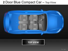 2 Door Blue Car Top View Powerpoint Presentation Slides DB