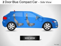 2 Door Blue Compact Car Side View Powerpoint Presentation Slides
