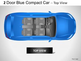 2 Door Blue Compact Car Top View Powerpoint Presentation Slides
