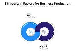 2 Important Factors For Business Production