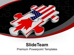2 Interconnected Puzzle Pieces America Flag PowerPoint Templates PPT Themes And Graphics 0313