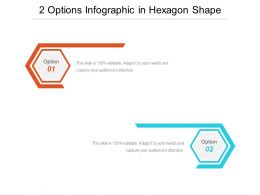 2 Options Infographic In Hexagon Shape