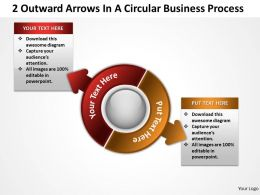 2 Outward  Arrows In A Circular Business Process Powerpoint Templates ppt presentation slides 812