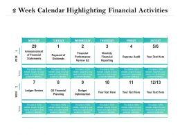 2 Week Calendar Highlighting Financial Activities