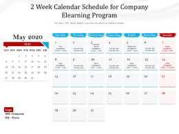 2 Week Calendar Schedule For Company Elearning Program