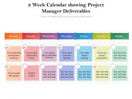 2 Week Calendar Showing Project Manager Deliverables