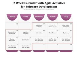 2 Week Calendar With Agile Activities For Software