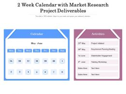 2 Week Calendar With Market Research Project Deliverables
