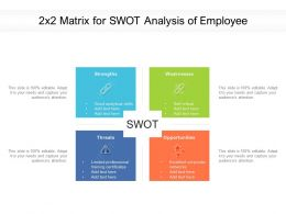 2x2 Matrix For SWOT Analysis Of Employee