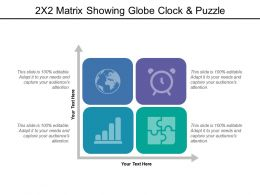 2x2 Matrix Showing Globe Clock And Puzzle