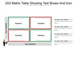 2x2 Matrix Table Showing Text Boxes And Icon