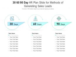 30 60 90 Day HR Plan Slide For Methods Of Generating Sales Leads Infographic Template