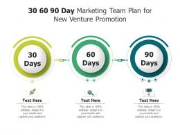 30 60 90 Day Marketing Team Plan For New Venture Promotion Infographic Template