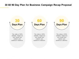 30 60 90 Day Plan For Business Campaign Recap Proposal Ppt Powerpoint Presentation Shapes