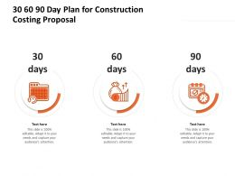 30 60 90 Day Plan For Construction Costing Proposal Ppt Infographic Template Deck