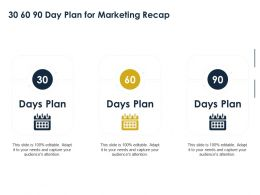 30 60 90 Day Plan For Marketing Recap Ppt Powerpoint Presentation Slides Grid