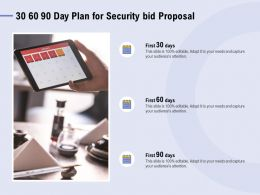 30 60 90 Day Plan For Security Bid Proposal Ppt Powerpoint Presentation File
