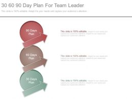 30 60 90 Day Plan For Team Leader Ppt Slides