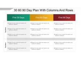 30 60 90 Day Plan With Columns And Rows Sample Of Ppt