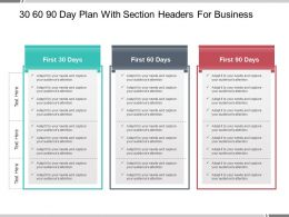 30 60 90 Day Plan With Section Headers For Business Powerpoint Guide