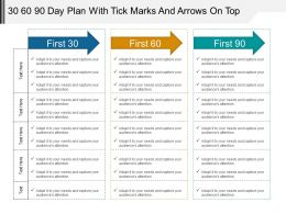 30_60_90_day_plan_with_tick_marks_and_arrows_on_top_powerpoint_ideas_Slide01