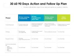 30 60 90 Days Action And Follow Up Plan