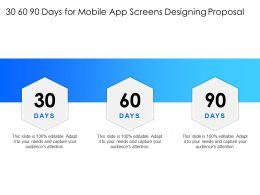 30 60 90 Days For Mobile App Screens Designing Proposal Audiences Ppt Presentation Slides Rules