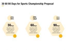 30 60 90 Days For Sports Championship Proposal Ppt Powerpoint Presentation Slides