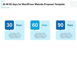 30 60 90 Days For WordPress Website Proposal Template Ppt Powerpoint Visual Aids Icon