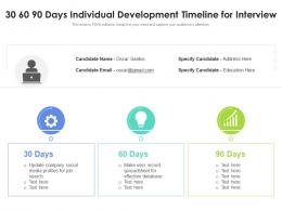 30 60 90 Days Individual Development Timeline For Interview