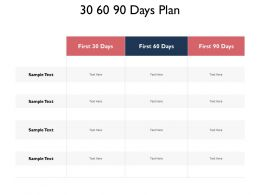 30 60 90 Days Plan Compare F672 Ppt Powerpoint Presentation Outline Templates