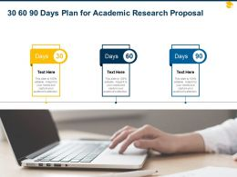 30 60 90 Days Plan For Academic Research Proposal Ppt Powerpoint Infographics