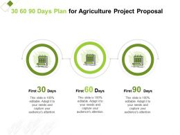 30 60 90 Days Plan For Agriculture Project Proposal Ppt Powerpoint Presentation Styles